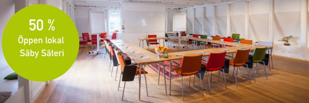 Erbjudande från Värmdö Företagarförening, 50 procent rabatt på Öppen lokal på Säby Säteri 2019